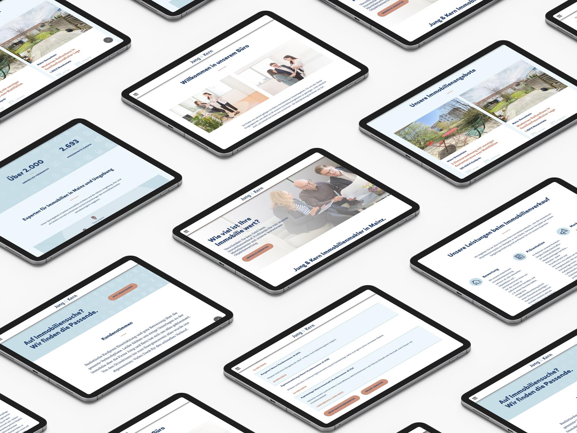 jung und kern Immobilienmakler Webdesign Padansicht